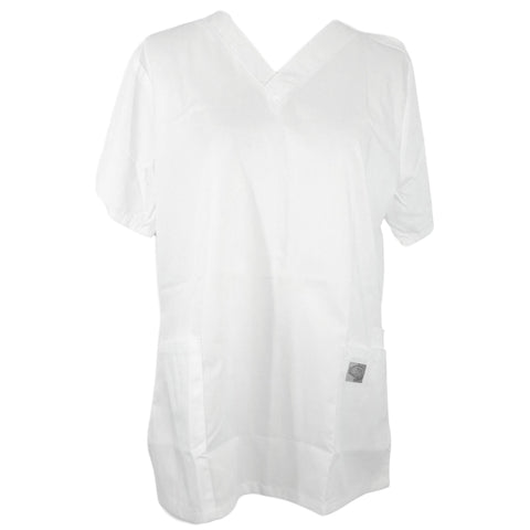 ScrubZone Classic V-Neck Top (70221) >> White, Medium