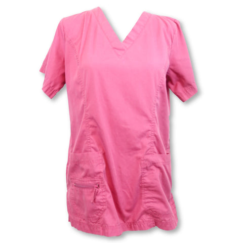 Peaches Uniforms V-Neck Top (4251) >> Fuchsia, X-Small