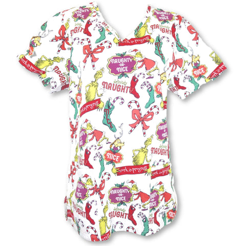 Dr. Seuss V-Neck Grinch Print Top (47700) >> Patterned, Small