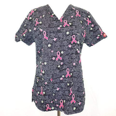 Dickies V-Neck Pink Ribbon Print Top (704) >> Patterned, Small