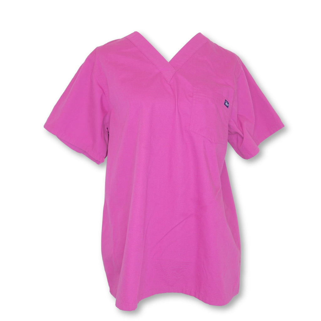 Tafford V-Neck Chest Pocket Top (700) >> Raspberry, Medium