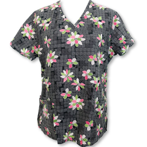 Simply Basic V-Neck Flower Print Top (746) >> Patterned, Medium