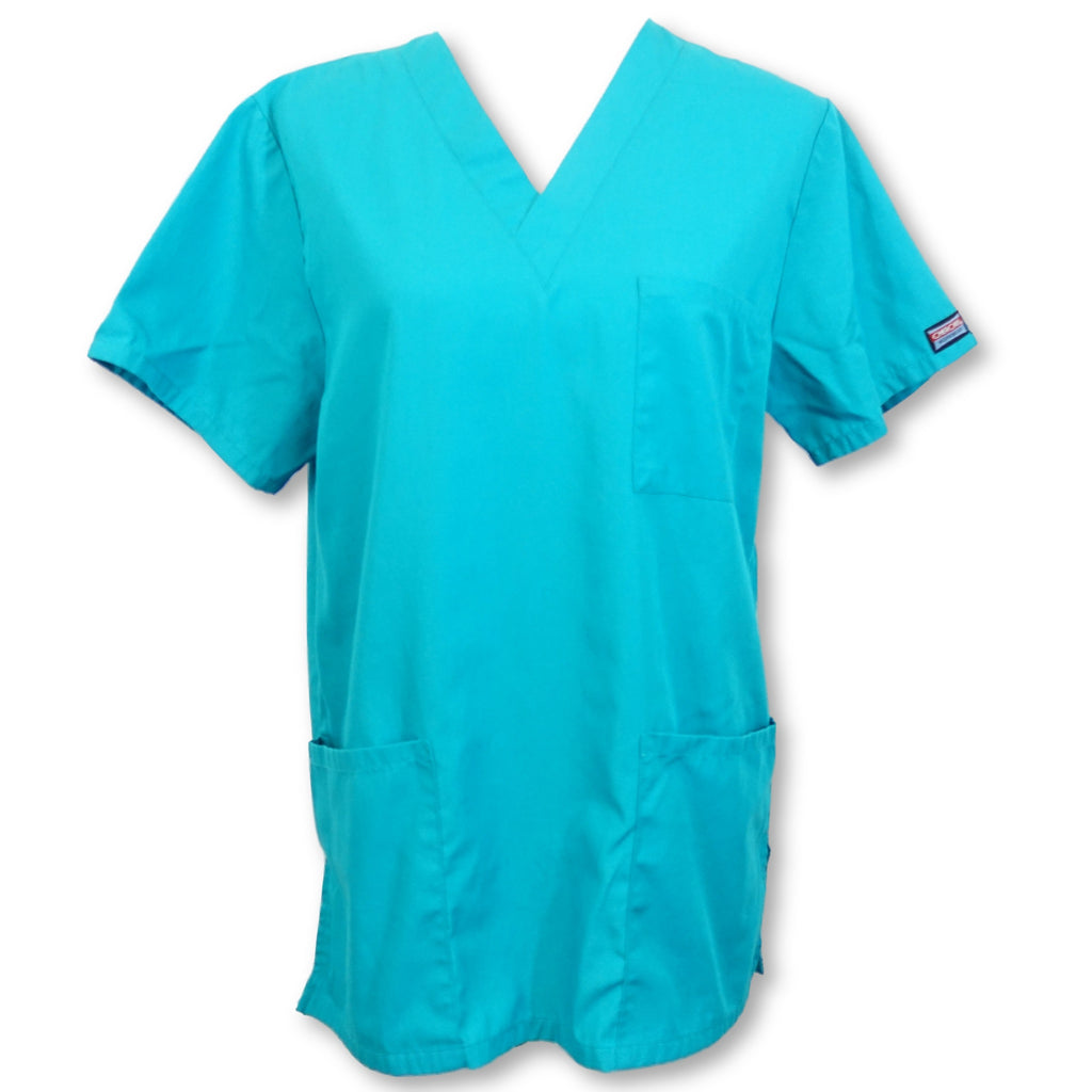 Cherokee Workwear Unisex V-Neck Scrub Top (4876) >> Teal, X-Small