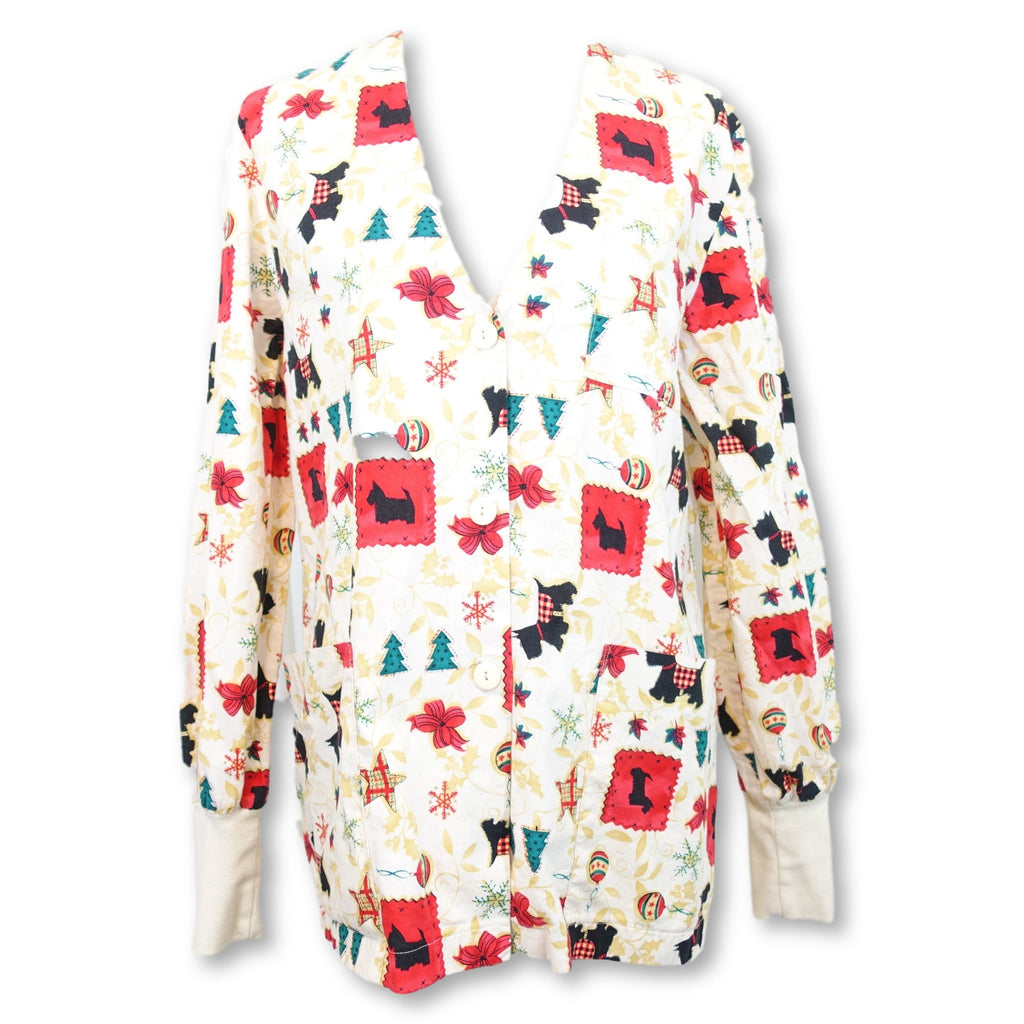 Peaches V-Neck Christmas Print Top (297) >> Patterned, Small