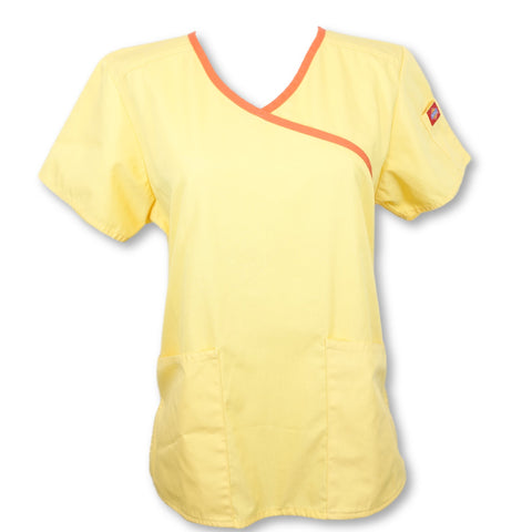 Dickies Mock Wrap Top >> Yellow, X-Small
