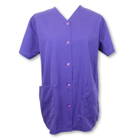 Scrubs USA Front Button Coat (1000) >> Purple, Small