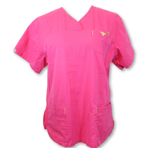 Med Couture Scrubs V-Neck Top (8401) >> Strawberry, Large