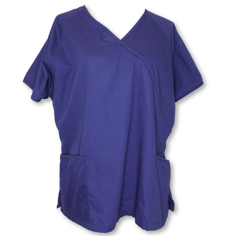 Butter-Soft Mock Wrap Top >> Navy, X-Large