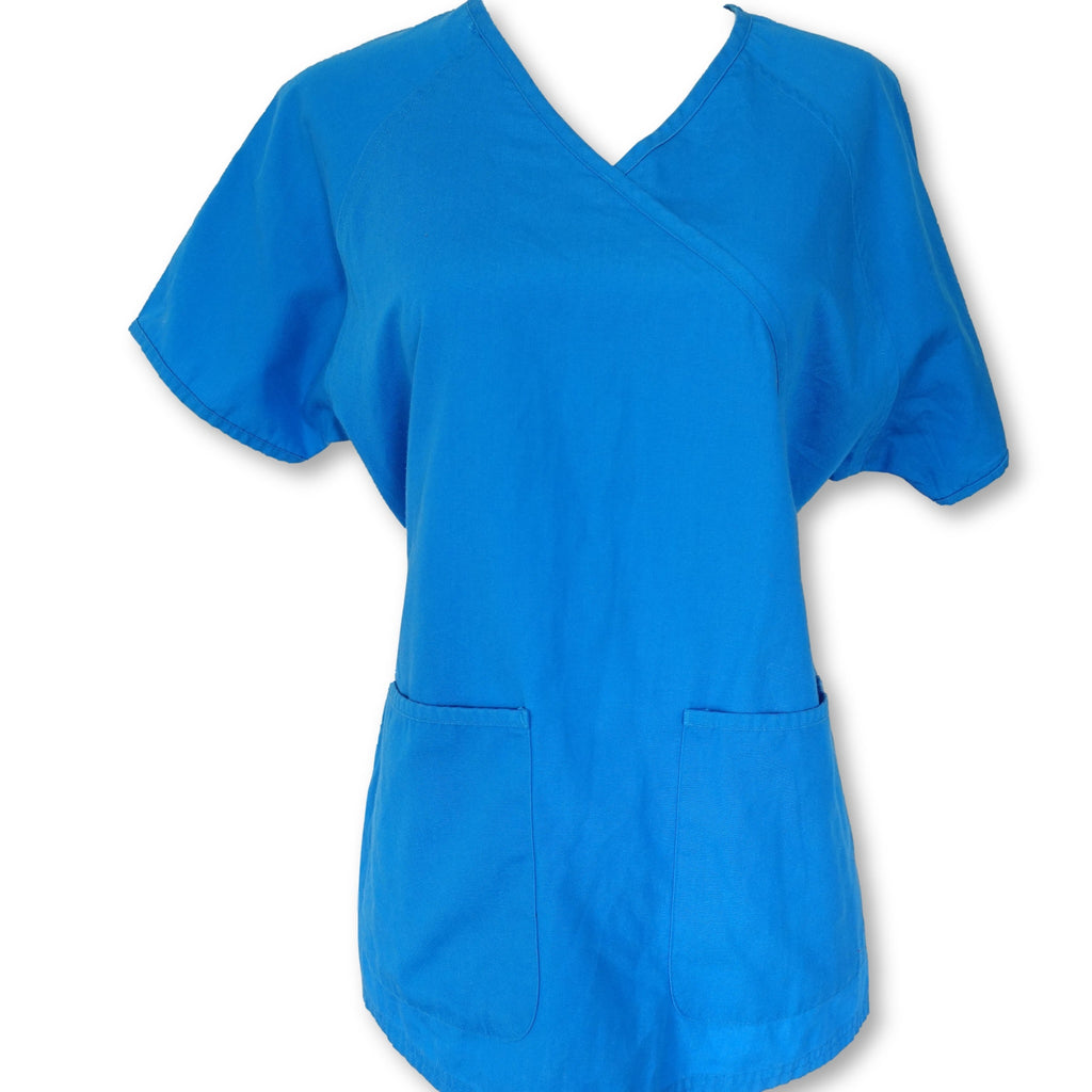 Uniform Advantage Best Buy Scrubs Mock Wrap Top (66) >> Marine Blue, Small