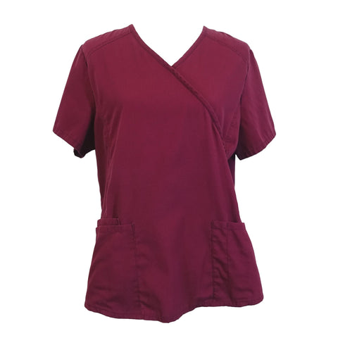 ScrubStar Mock Wrap Top (90003) >> Wine, Medium