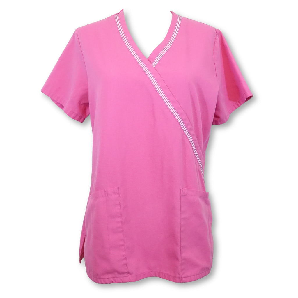 Simply Basic Mock Wrap Top (960) >> Shocking Pink, X-Small
