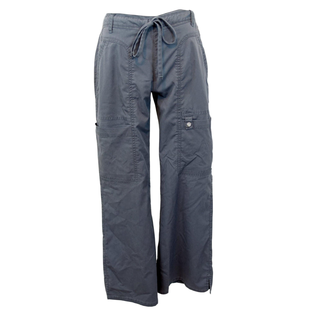 Cherokee Luxe Low Rise Drawstring Cargo Pants (21100) >> Pewter, X-Small Petite
