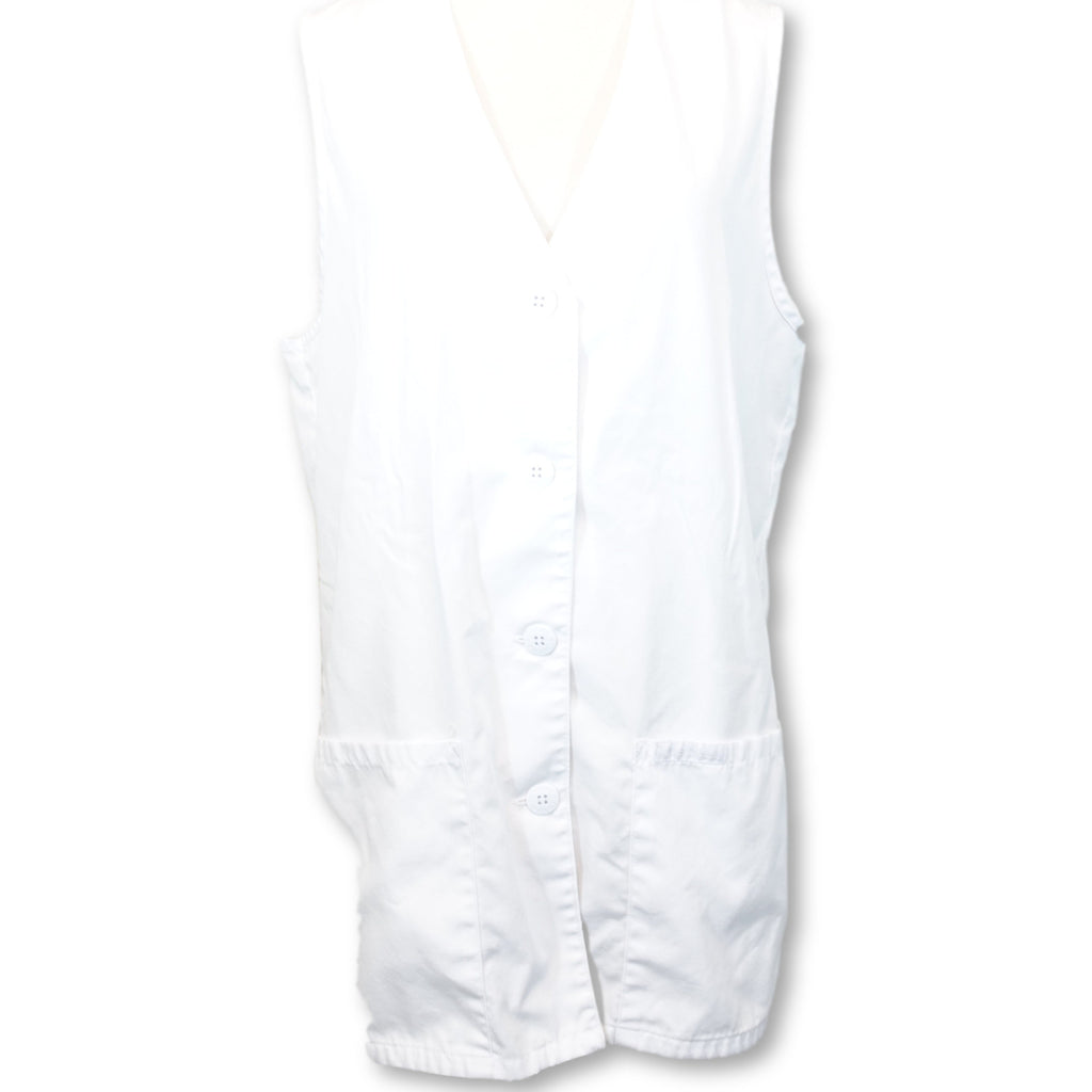 Cherokee Fashion Button Front Vest (1602) >> White, X-Small