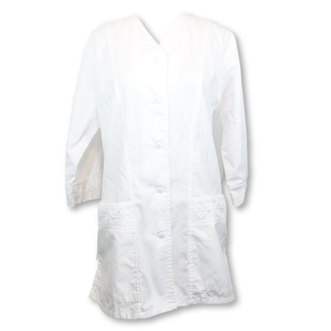 Cherokee Professional Whites 3/4 Sleeve Embroidered Jacket (1949) >> White, X-Small
