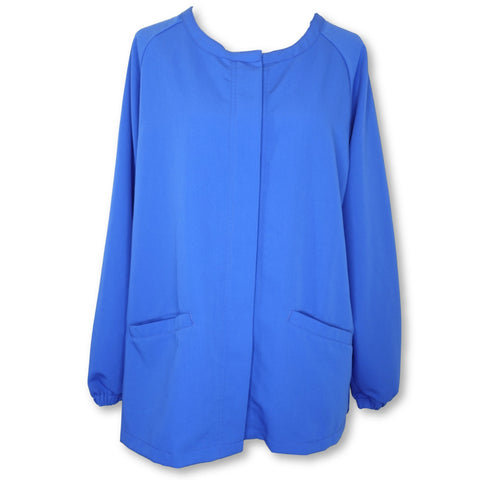 Ave Round Neck Snap Front Warm-Up Jacket (5540) >> Royal Blue, X-Large
