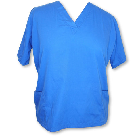 Butter-Soft V-Neck Solid Top (62) >> Royal Blue, X-Large