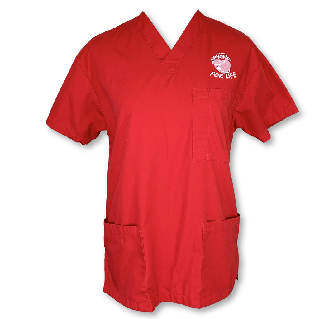 allheart V-Neck 3 Pocket Solid Scrub Top (2001) >> Red, X-Small