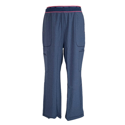 Cherokee Infinity Mid Rise Tapered Leg Pull-on Pant (050) >> Heather Navy, X-Large Petite