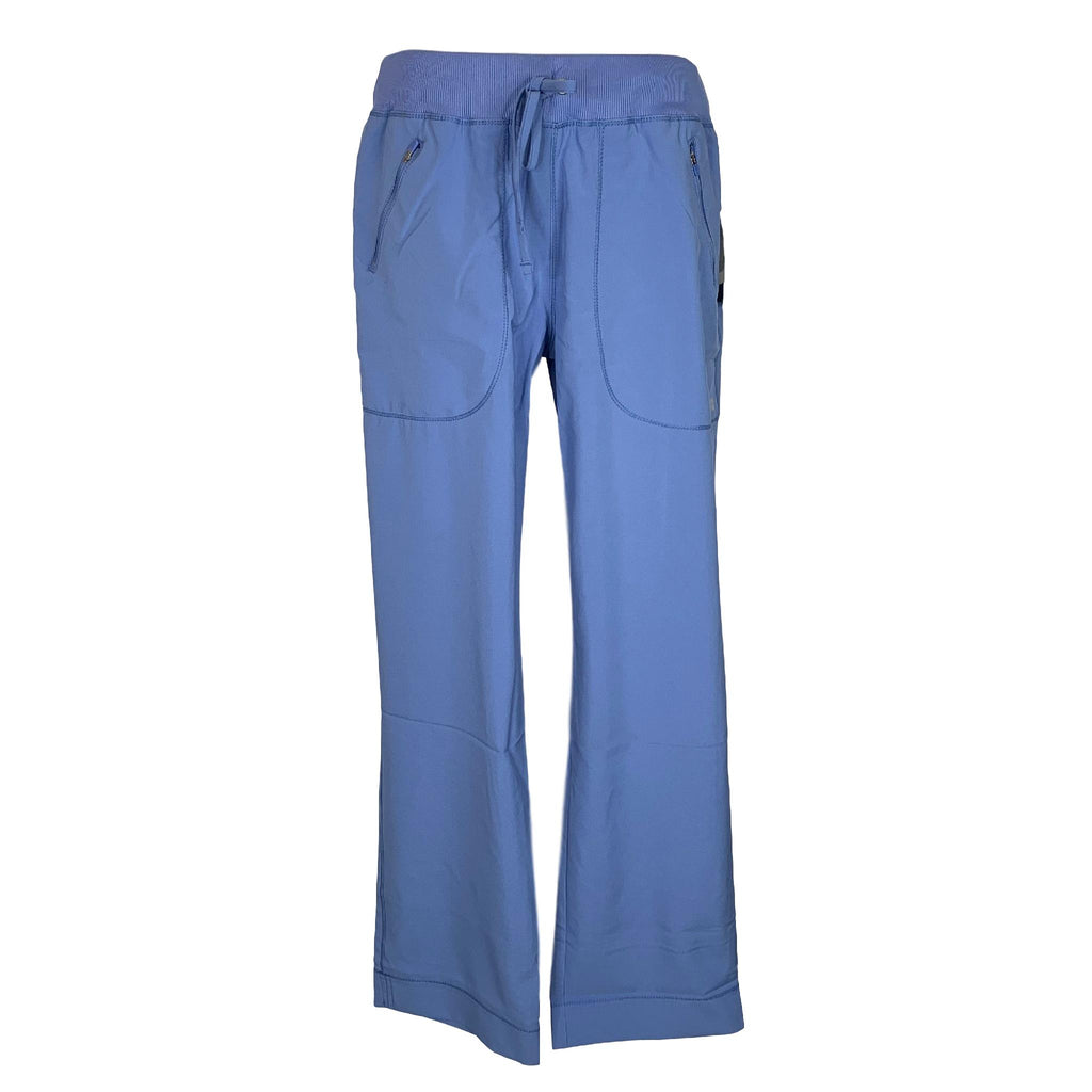 Cherokee Infinity Mid Rise Tapered Leg Drawstring Pant (100) >> Ceil Blue, X-Small