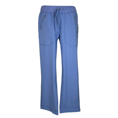 Cherokee Infinity Mid Rise Tapered Leg Drawstring Pant (100) >> Ceil Blue, Large