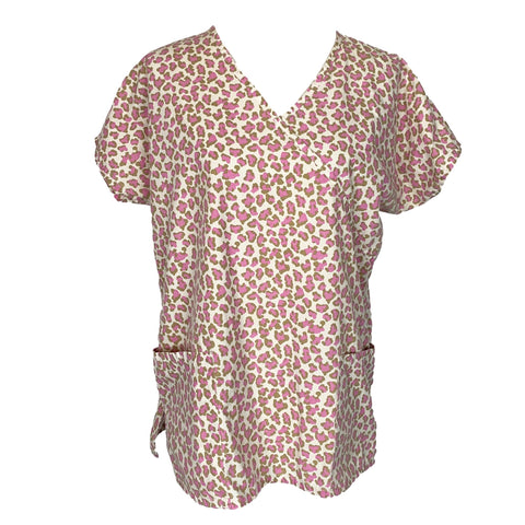 J.I.T. Scrubs V-Neck Animal Print Top >> Patterned, Medium