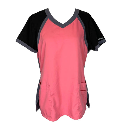 Grey's Anatomy Active Tri-Color V-Neck Top (41435) >> Pink, Large