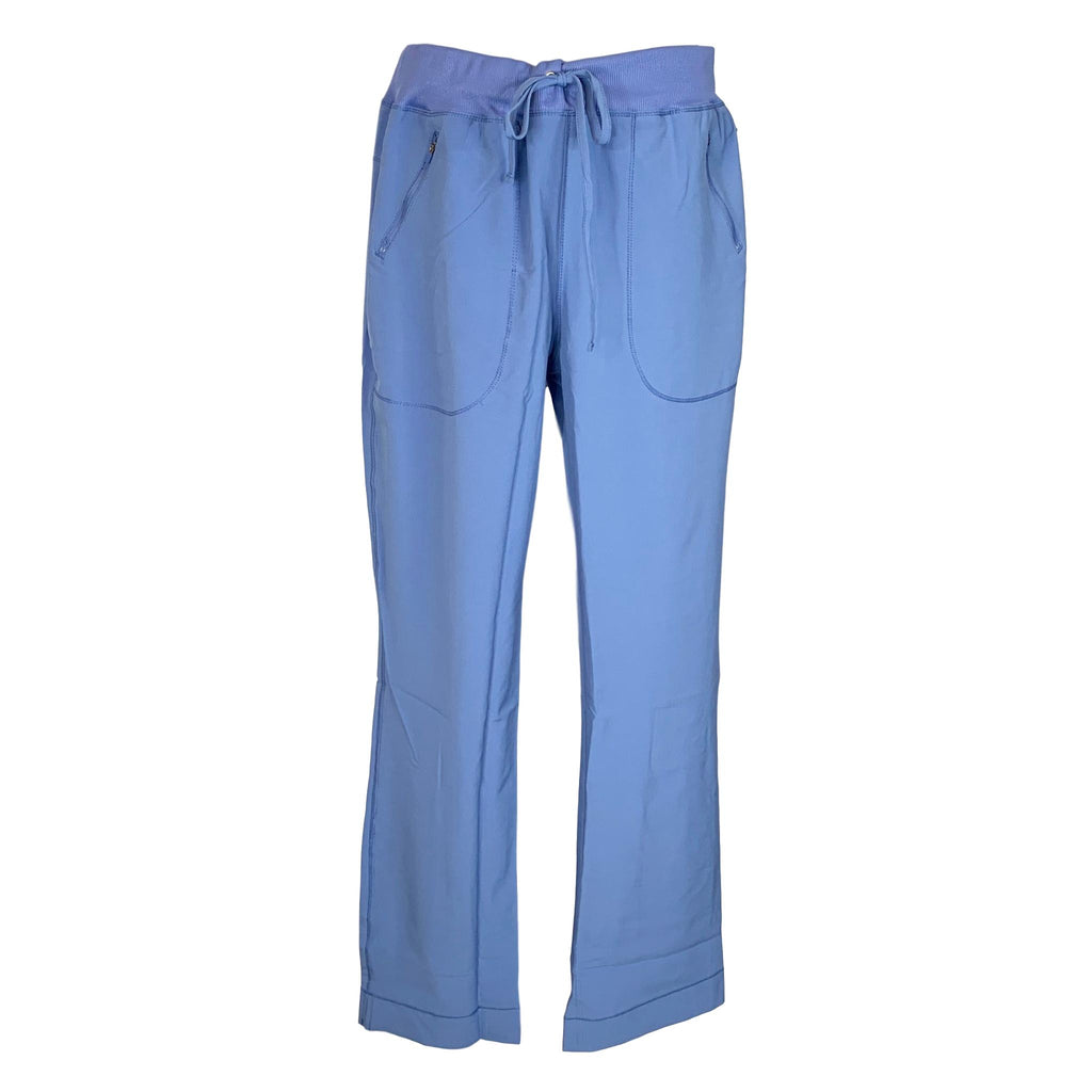 Cherokee Infinity Mid Rise Tapered Leg Drawstring Pant (100) >> Ceil Blue, Large Tall