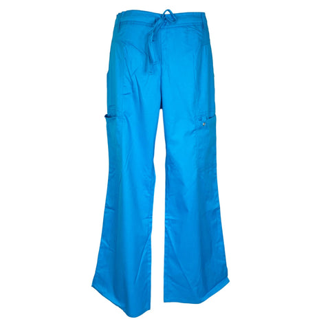 Cherokee Luxe Low Rise Drawstring Cargo Pants (21100) >> Blue Bell, Large Petite
