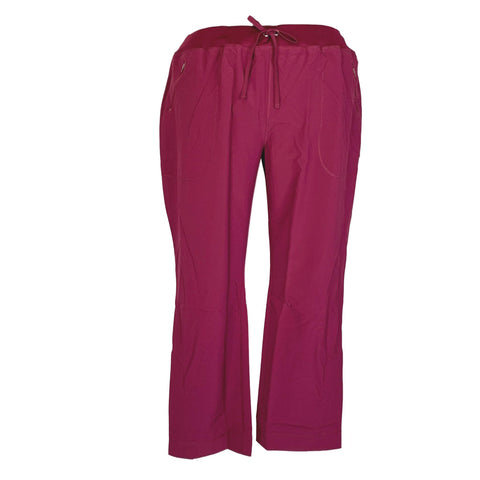 Cherokee Infinity Mid Rise Tapered Leg Drawstring Pant (100) >> Wine, 2X-Large Tall