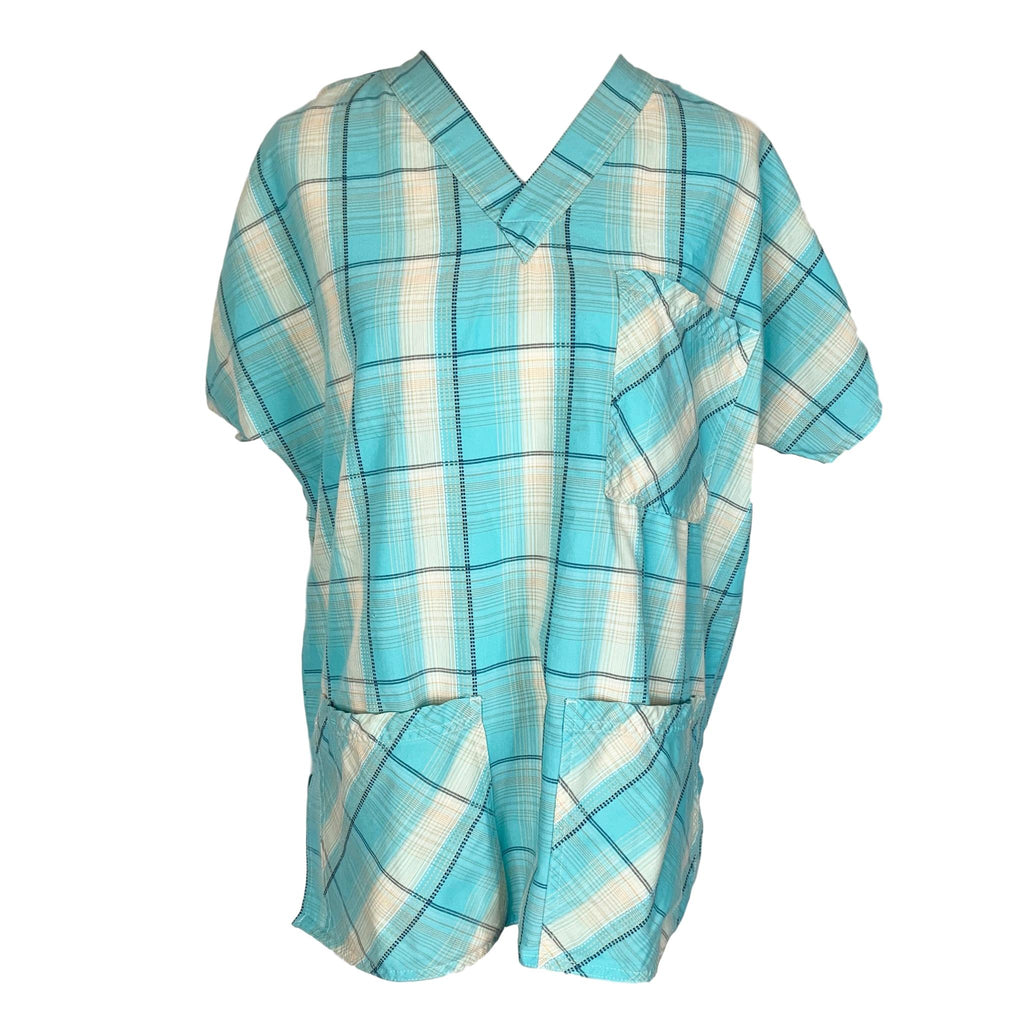 S.C.R.U.B.S. V-Neck Plaid Print Top >> Patterned, Medium