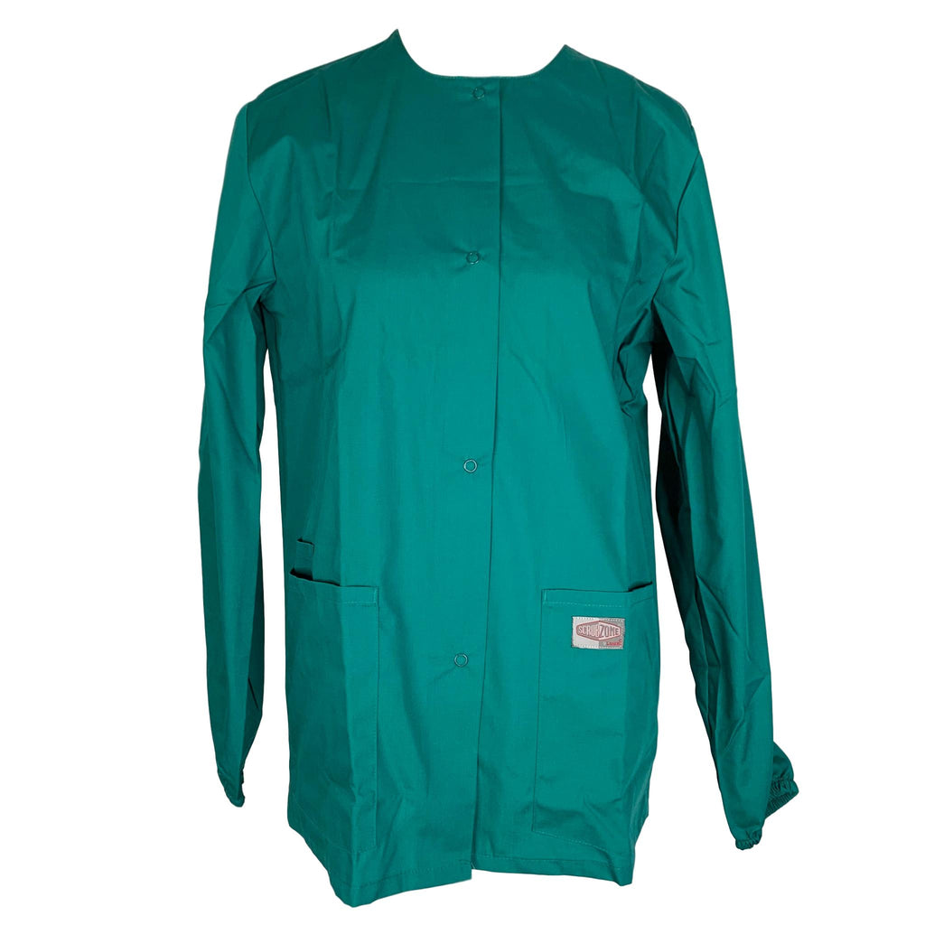 ScrubZone Front Snap Closure Jacket (75221) >> Hunter Green, X-Small