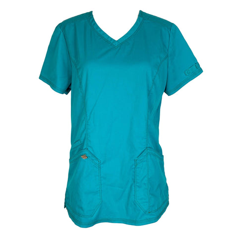 Dickies Essence V-Neck Top (803) >> Teal Blue, X-Small
