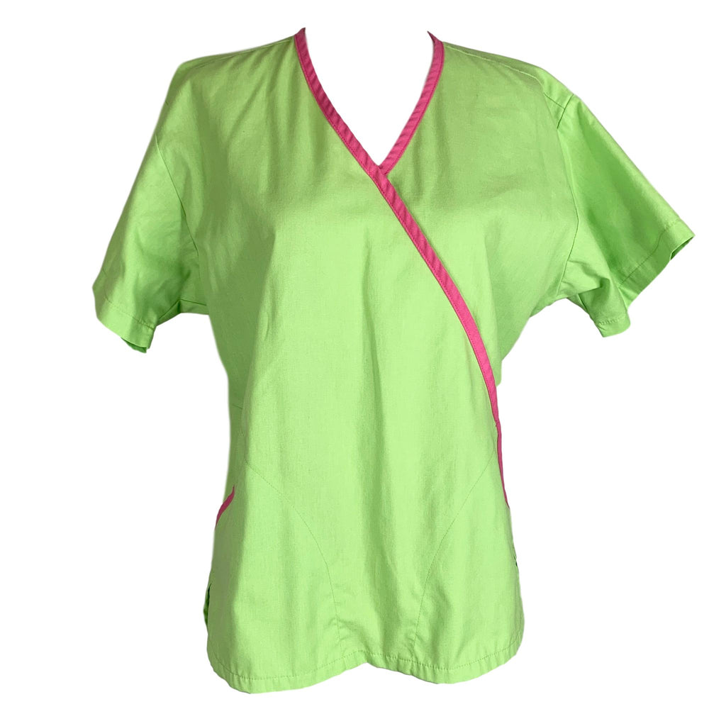 Peaches Uniforms Mock Wrap V-Neck Top (4797) >> Lime Green, X-Small