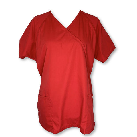 Uniform Advantage Best Buy Scrubs Mock Wrap Top (668) >> Red, Large