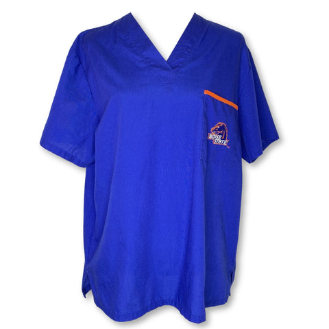 Scrub Dudz V-Neck Unisex Boise State Print Top >> Patterned, Medium