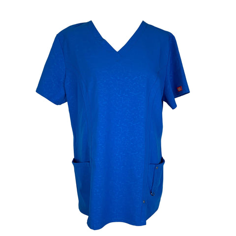 Dickies Women's Xtreme Stretch V-Neck Top (82816) >> Royal Blue, X-Large