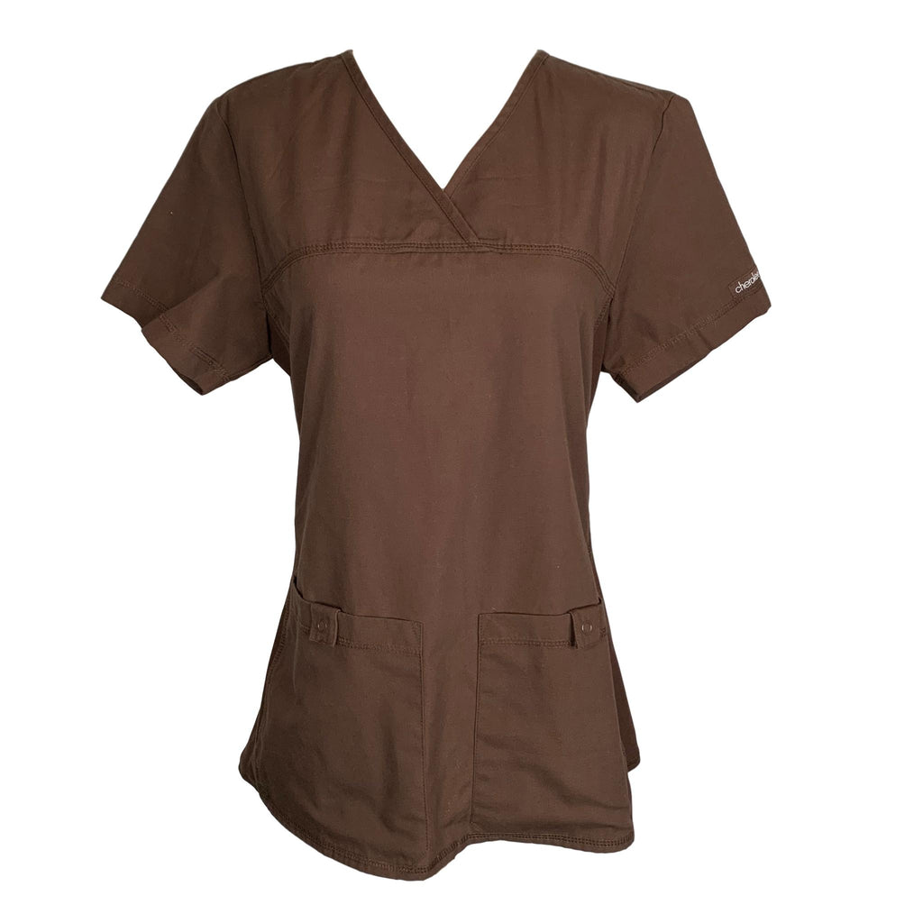 Cherokee Flexibles Pro V-Neck Top (2968) >> Chocolate, X-Small