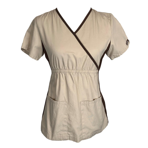 Cherokee Mock Wrap Knit Panel Top (2500) >> Khaki, X-Small