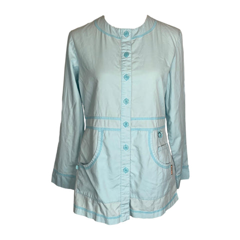 Koi Olivia Round-Neck Button-Front Jacket (406) >> Light Aqua, Small