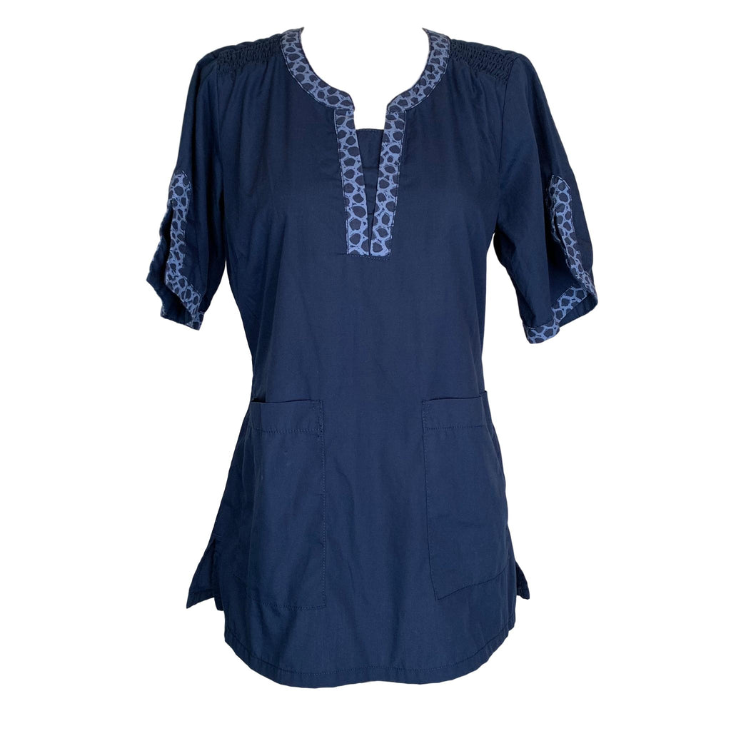 Peaches Y-Neck Top (4249) >> Navy, X-Small