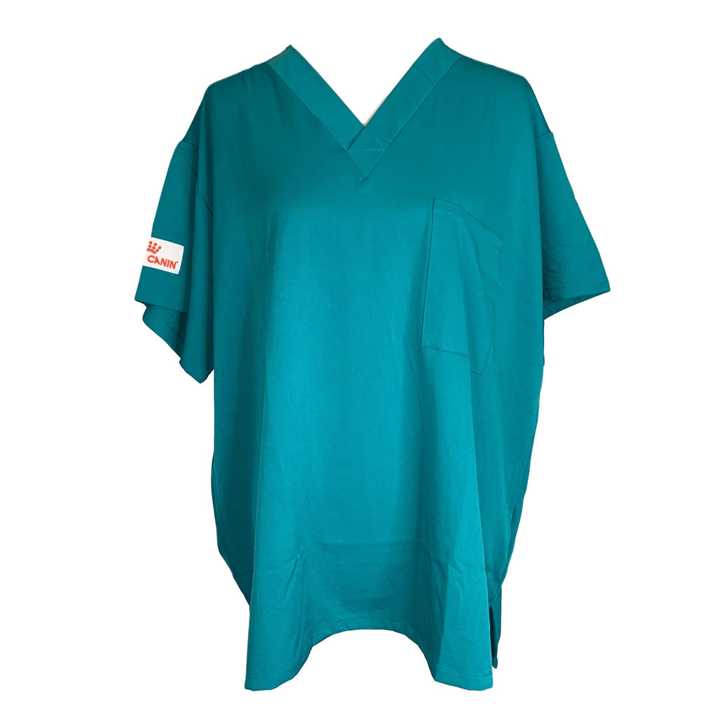 Royal Canin V-Neck Solid Print Top >> Teal, X-Large