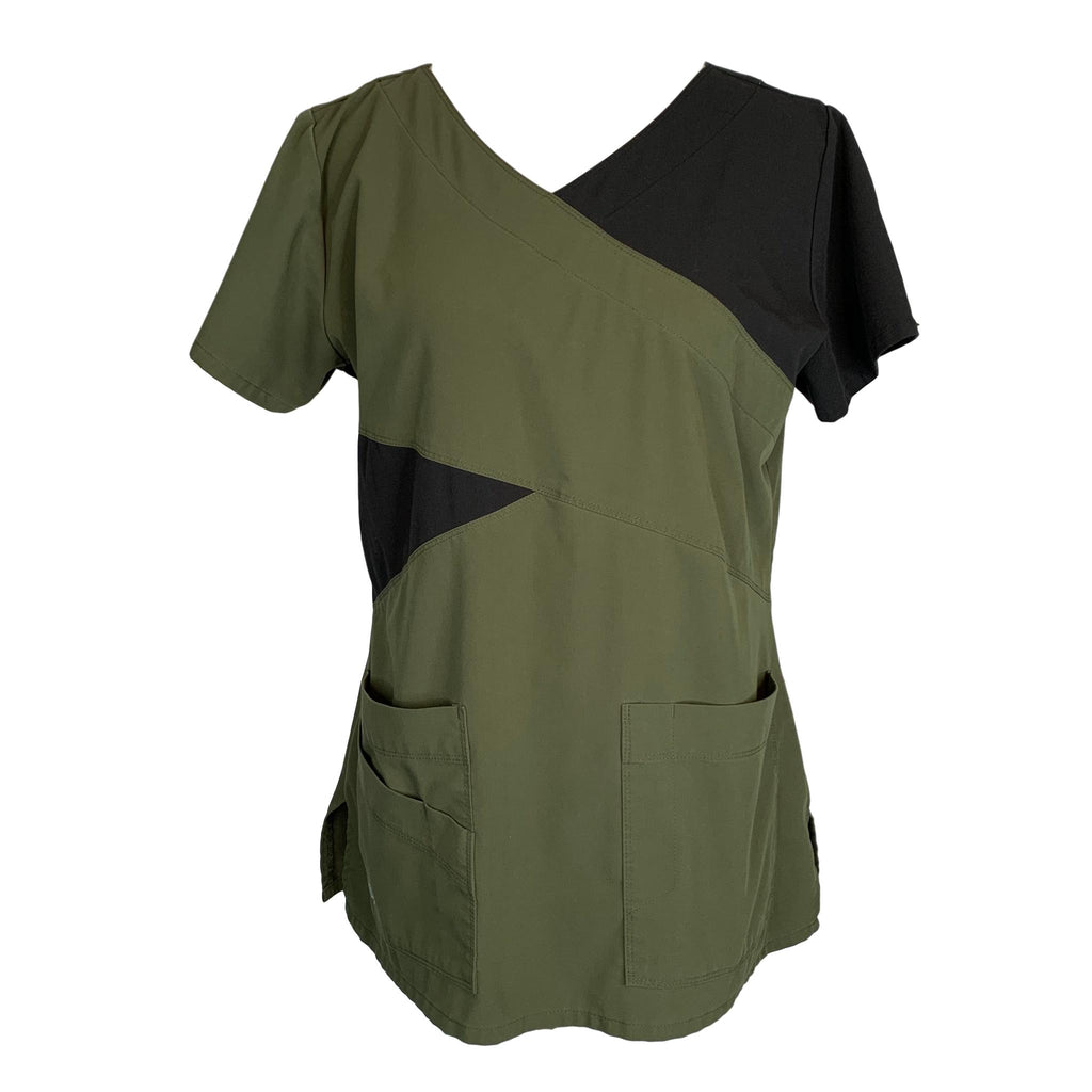 Grey's Anatomy Signature Contrast Mock Wrap Top (2140) >> Olive, Medium