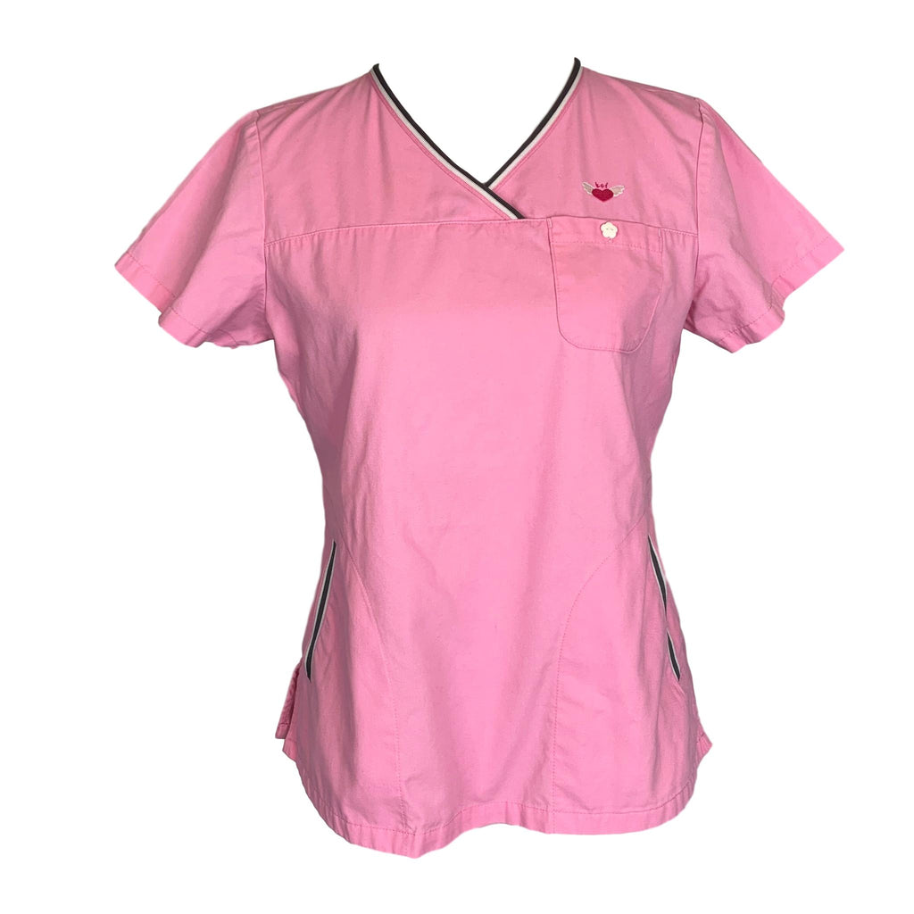 Koi Crossover V-Neck Solid Top (113) >> Pink, Small