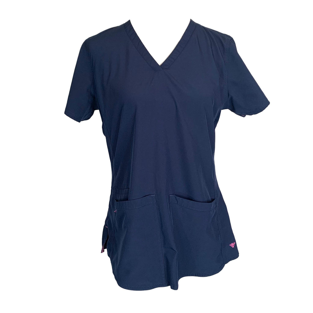 Med Couture Energy Serena Shirttail Hem V-Neck Top (8579) >> Navy, Medium