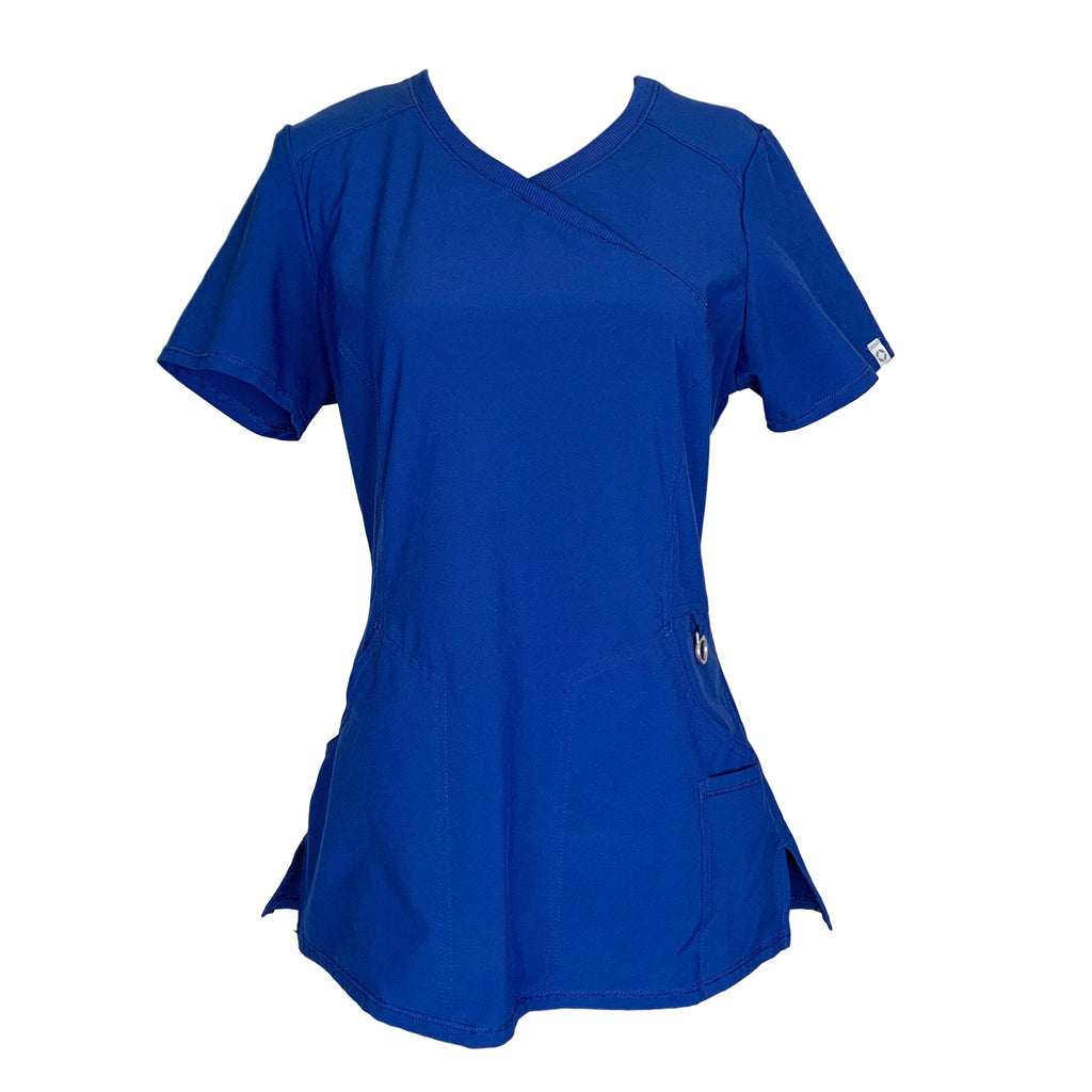 Cherokee Infinity Mock Wrap Antimicrobial Top (2625) >> Galaxy Blue, Small