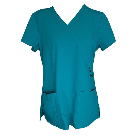 Dickies XTreme Stretch Mock Wrap Top (85956) >> Teal, Medium