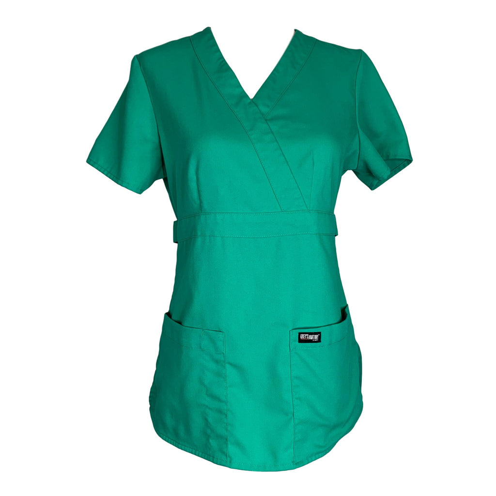 Grey's Anatomy 3 Pocket Mock Wrap Top (4153) >> Kelly Green, X-Small