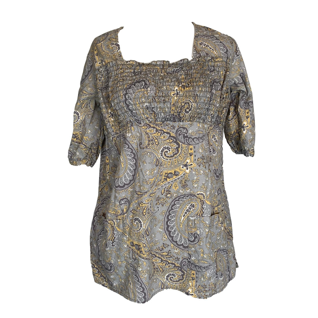Healing Hands Perfect Paisley Print Top (5011) >> Patterned, X-Small