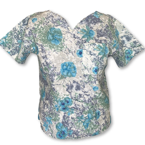 Crest Y-Neck Flower Print Top (244) >> Patterned, X-Large
