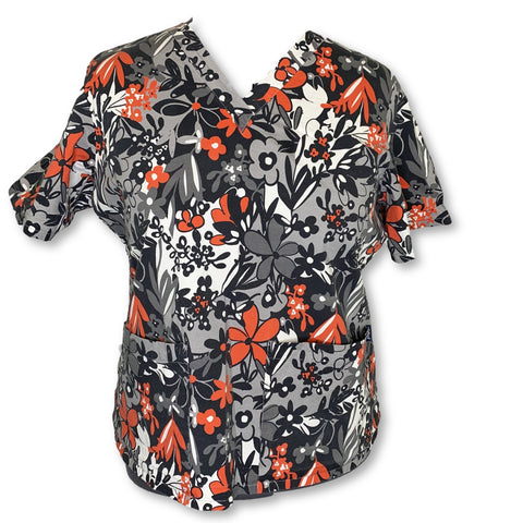 Tafford 2 Pocket Flower Print Top (06) >> Patterned, 2X-Large